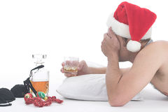 Drunk Santa. Drunk man with booze and female underwear Royalty Free Stock Images