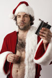 Drunk Santa Claus. A drunk Santa Claus with flask and ripe with bad attitude