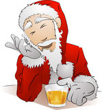 Drunk Santa Claus. An Illustration of drunk Santa Claus sitting with his glass of drink Royalty Free Stock Photo