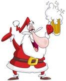 Drunk santa claus. Christmas illustartion of a drunk Santa Claus with beer Stock Photo