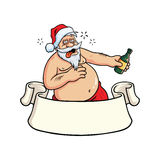 Drunk Santa Claus Drinking Booze. Christmas Greeting Card Vector. Drunk Santa Claus Drinking Booze Hangover . Christmas Greeting Card Vector Stock Photos