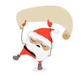 Drunk Santa Claus is holding blank ribbon, singing and dancing. Stock Photos