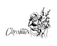 Drunk Santa Claus and reindeer with beer mug in hand royalty free illustration