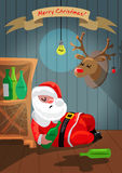 Drunk Santa Claus is sleeping in the room Royalty Free Stock Image