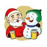 Drunk Santa Claus and snowman. Vector illustration of drunk Santa Klaus and snowman stock images