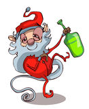 Drunk Santa Clause Vector Illustration. Royalty Free Stock Photography