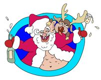 Drunk Santa and Deer Royalty Free Stock Photo