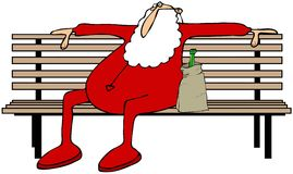 Drunk Santa on a park bench Stock Photo