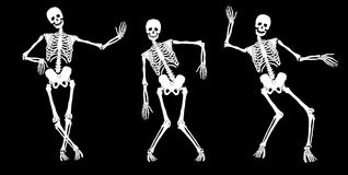 Drunk skeletons. White drunk skeletons on black. Set #2. Vector Royalty Free Stock Photo
