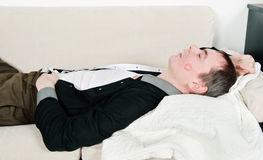 Drunk sleeping kissed husband Royalty Free Stock Photos