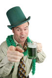 Drunk On St Patricks Day. A very drunk man celebrating St. Patrick's Day.  Isolated on white Stock Images