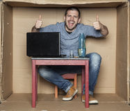 Drunk student showing thumbs up Royalty Free Stock Photo
