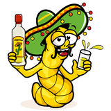 Drunk Tequila worm. A cartoon drunk tequila worm holding a bottle of tequila Royalty Free Stock Photo