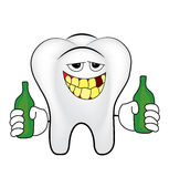 Drunk tooth cartoon Royalty Free Stock Images