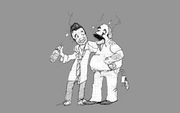 Drunk. Two drunken friends, gray background, illustration Royalty Free Stock Photo