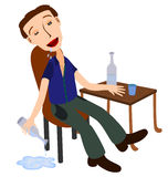 Drunk and unconscious. A humorous illustration of a very drunk man sitting and holding a bottle of alcoholic drink Stock Photos
