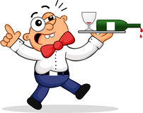 Drunk Waiter Cartoon Royalty Free Stock Image