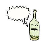Drunk wine bottle cartoon Stock Image