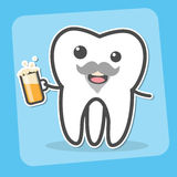 Drunk wisdom tooth with beer. Drunk insane tooth with beer. Wisdom tooth can causes pain concept. Toothache. Dental vector illustration Stock Photo