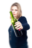 Drunk woman. With bottle of wine, with motion blur effect and isolated over white background Stock Photos