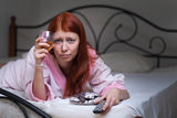 Drunk woman with alcohol Royalty Free Stock Images