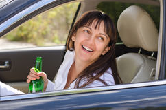 Drunk woman driving Royalty Free Stock Photo