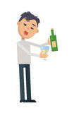 Drunk Woman with Glass of Wine Flat Vector. Drunk man in rumpled clothes, with messy hairstyle holding glass and bottle of wine flat style vector isolated on Royalty Free Stock Image