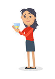 Drunk Woman with Glass of Wine Flat Vector. Drunk woman in rumpled clothes, with messy hairstyle holding glass of wine flat style vector isolated on white Royalty Free Stock Images
