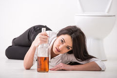 Drunk woman Stock Image