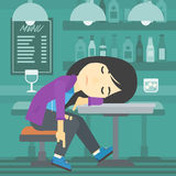 Drunk woman sleeping in bar. Stock Images