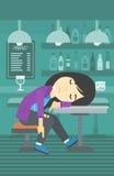 Drunk woman sleeping in bar. Stock Photography