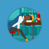 Drunk woman sleeping in bar vector illustration. Royalty Free Stock Image