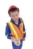 Drunk worker. Construction worker under alcohol influence Royalty Free Stock Image
