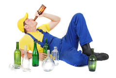 Drunk worker Royalty Free Stock Photos