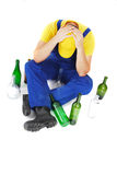 Drunk worker Royalty Free Stock Image