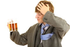 Drunk young  businessman with beer Royalty Free Stock Image