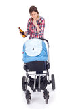 Drunk young mother with baby pram. Drunk young mother with baby buggy (stroller), white background Stock Photo