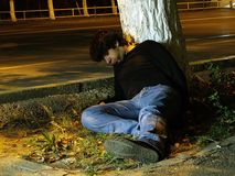 Drunkard. In the middle of the night Royalty Free Stock Image