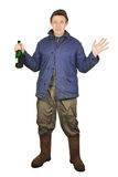 Drunkard with a bottle Royalty Free Stock Photos