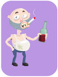 Drunkard. Dirty drunk guy with a bottle of wine and a cigarette Royalty Free Stock Image