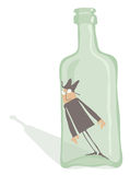 Drunkard Inside the Bottle Royalty Free Stock Photo