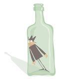 Drunkard Inside the Bottle. Editable vector EPS 8 file royalty free illustration