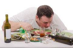 Man drunk like a fish yesterday Stock Photos