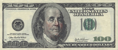Drunken Ben Franklin. US Hundred Dollar bill with Drunken Ben Franklin Royalty Free Stock Photography