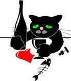 Drunken black cat with red heart and bottle