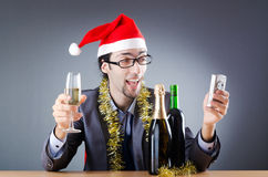 Drunken businessman after  christmas party Royalty Free Stock Photography