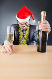 Drunken businessman after  christmas party Stock Image
