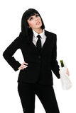 Drunken businesswoman Stock Images