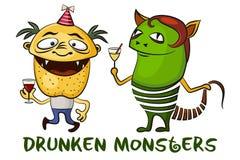 Drunken Cartoon Monsters Set Stock Images