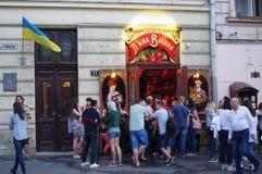 Drunken Cherry bar in Lviv in Ukraine. Drunken Cherry, very popular and unique establishment for drinking a heavy tasteful cherry wine in old town Lviv in Royalty Free Stock Photography